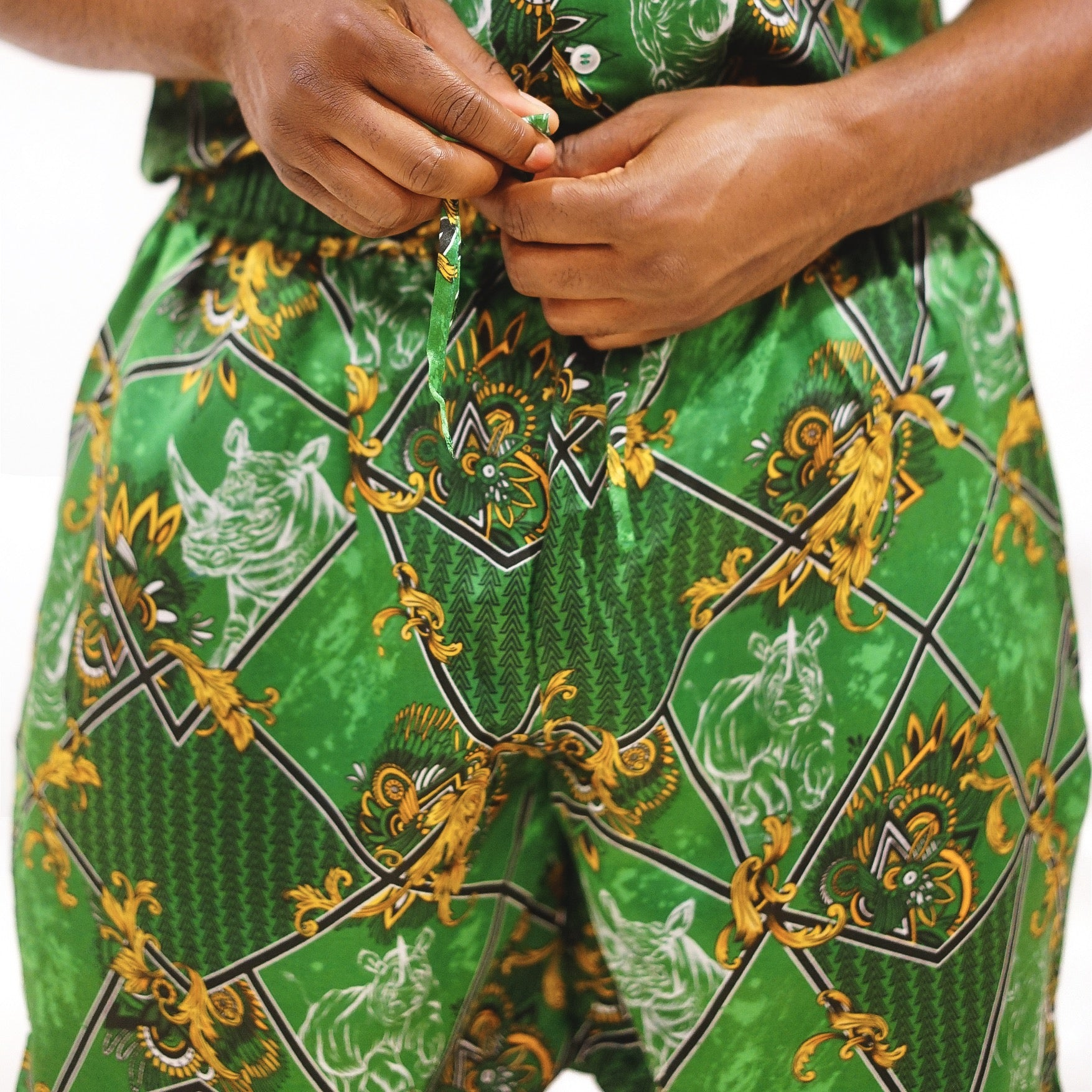 Mens Green Shorts, Printed, Silk Co-ord, Two-piece