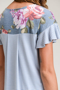 Blue Floral Contrast Stripe Ruffle Sleeve Top