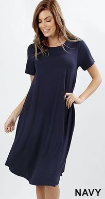 Solid A-Line Short Sleeve Knee Length Dress