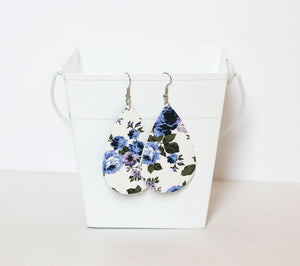 Teardrop Leather Floral Earrings