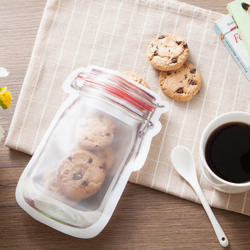Mason Jar Shape Reusable Zipper Bag Set