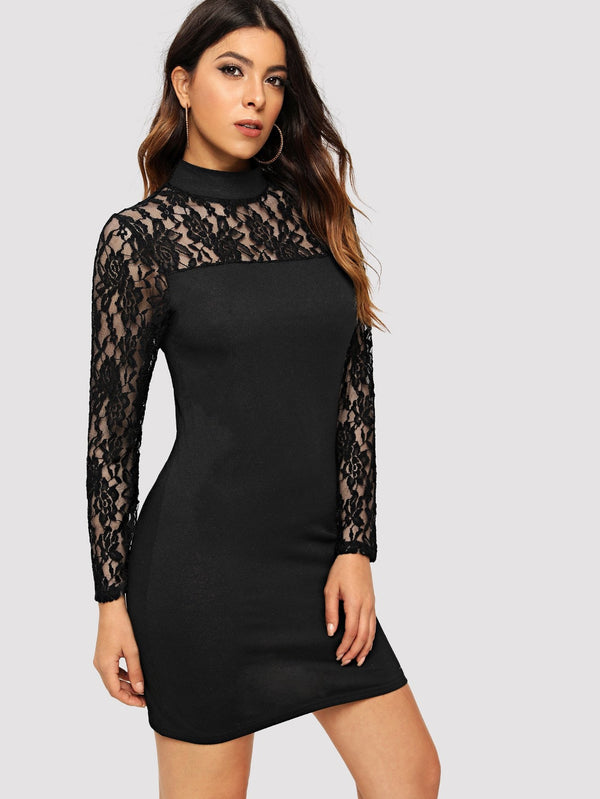 Mock-Neck Lace Yoke Dress