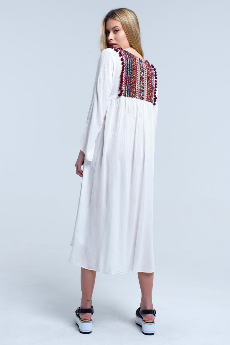 White midi dress with tassel and embroidered detail - ethereal-arscenic