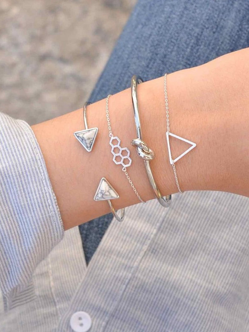 Geometric & Twist Detail Bracelet Set 4pcs - ethereal-arscenic
