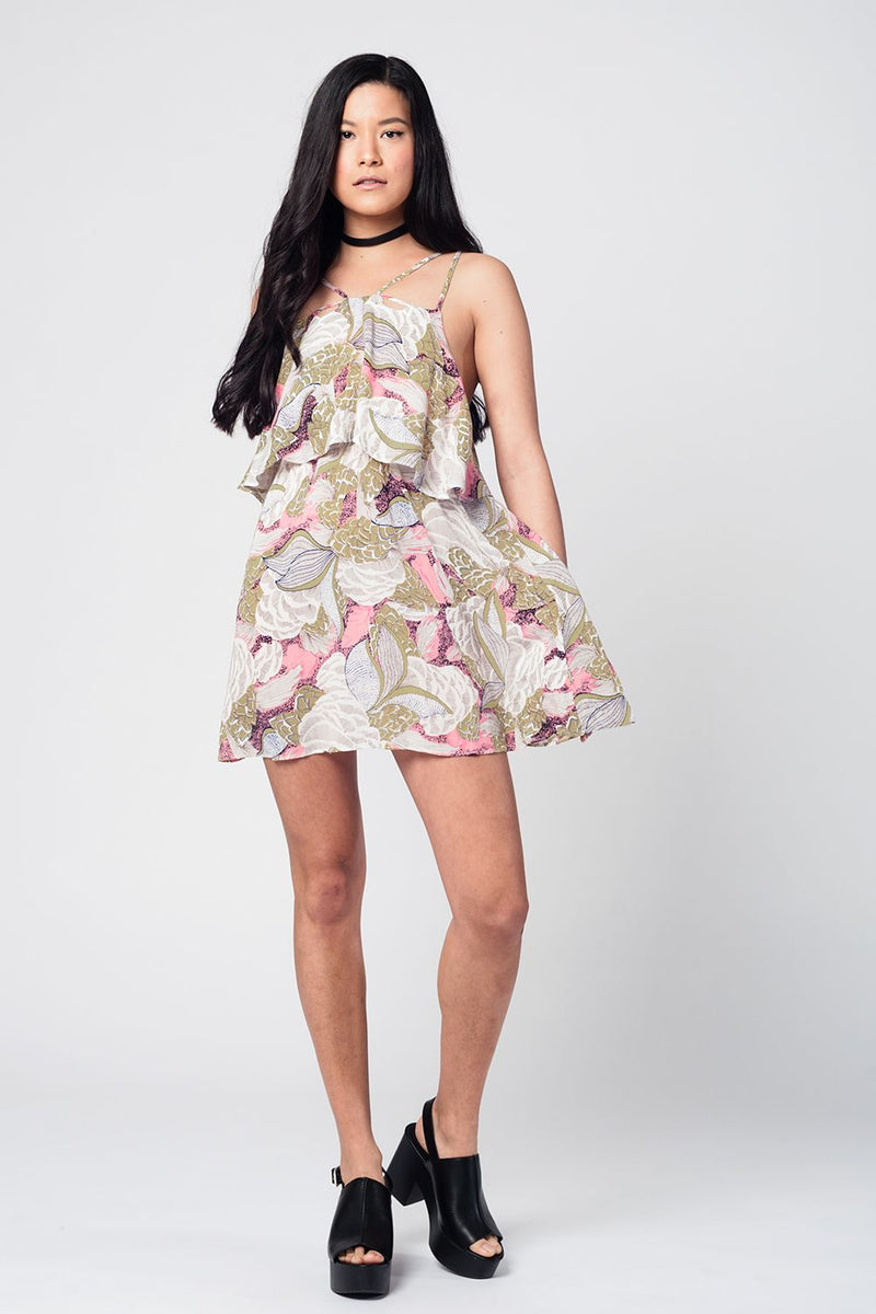 Yellow printed mini dress with double layer and crossed straps - ethereal-arscenic