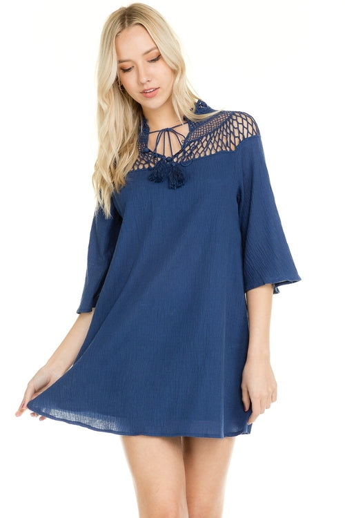 Bell Sleeve Crochet Shoulder Tie Dress - ethereal-arscenic