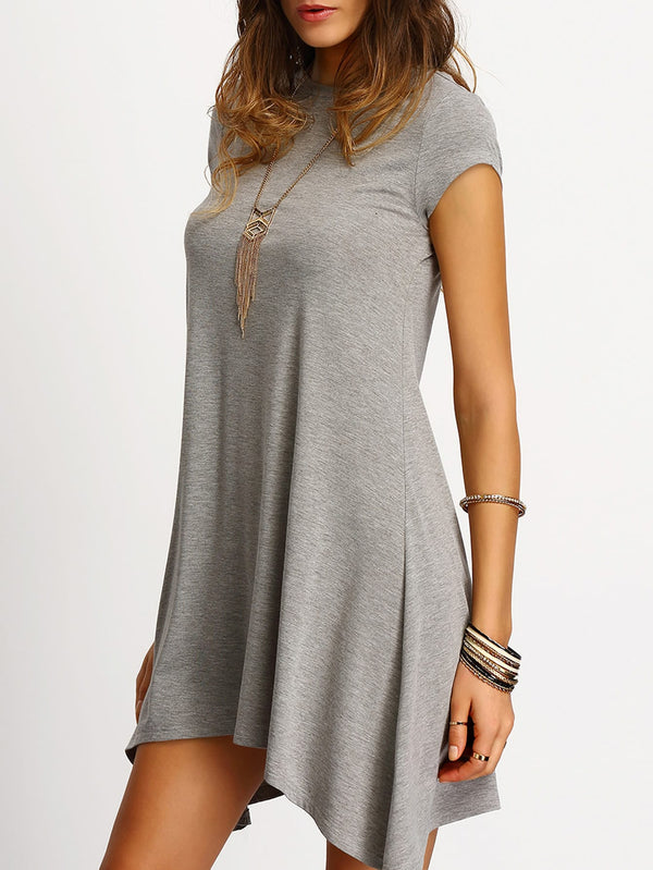 Asymmetric Hem Casual Shift Dress - ethereal-arscenic