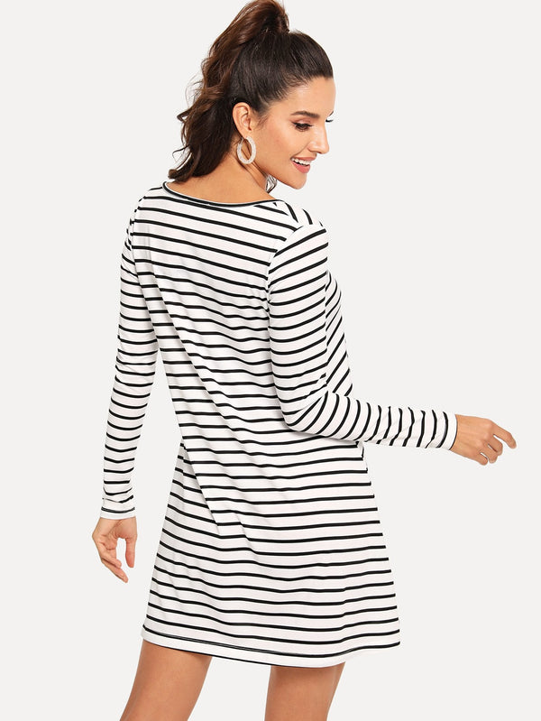 Criss Cross Striped Dress