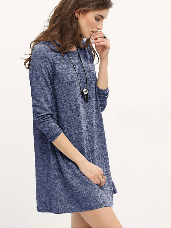 Marled Knit Mini T-shirt Dress - ethereal-arscenic
