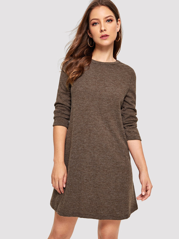 Crew Neck Casual Sweater Dress
