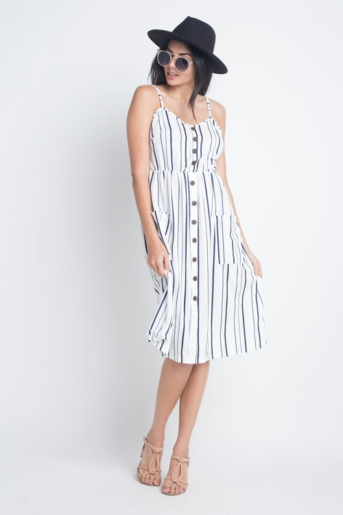 Striped Button Midi Sleeveless Dress - ethereal-arscenic