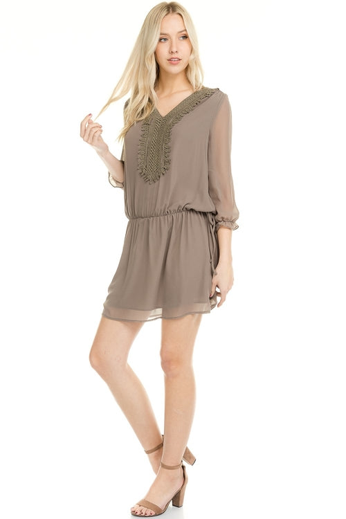 Three Quarter 3/4 Sleeve Crochet Tie Dress - ethereal-arscenic