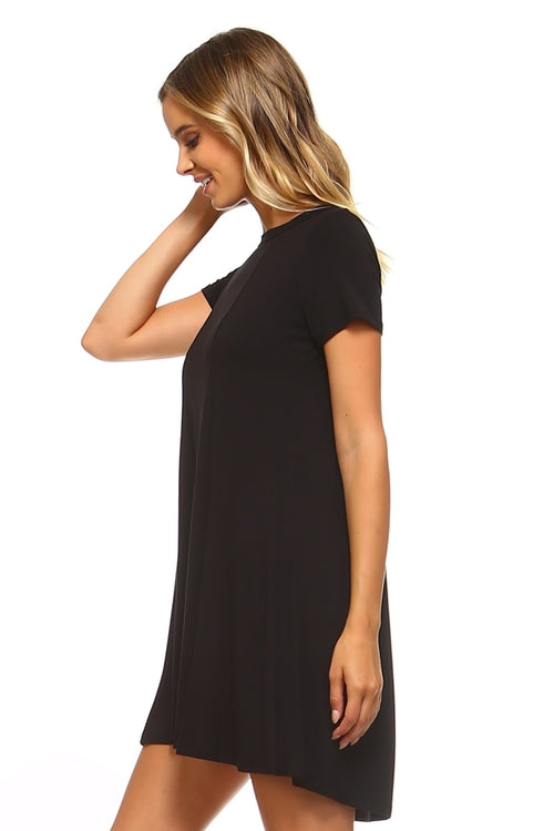 Loose T-Shirt Keyhole Dress - ethereal-arscenic
