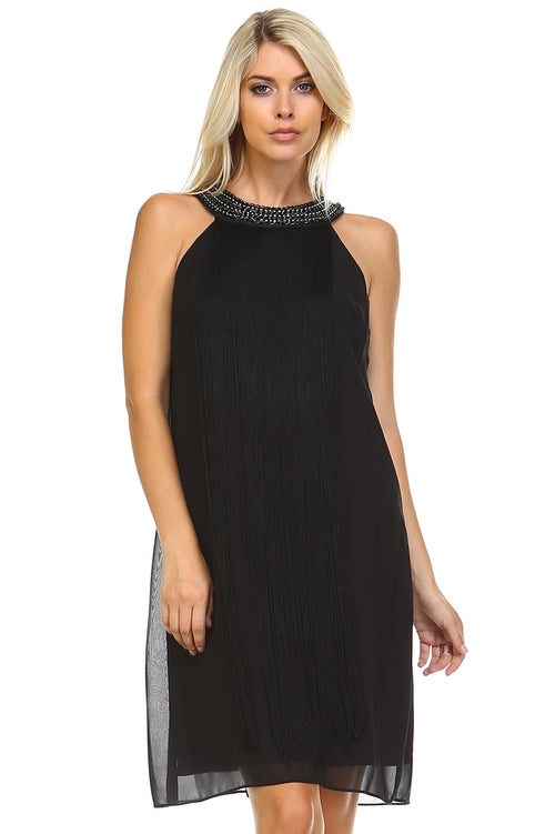 Beaded Neckline Fringe Dress - ethereal-arscenic