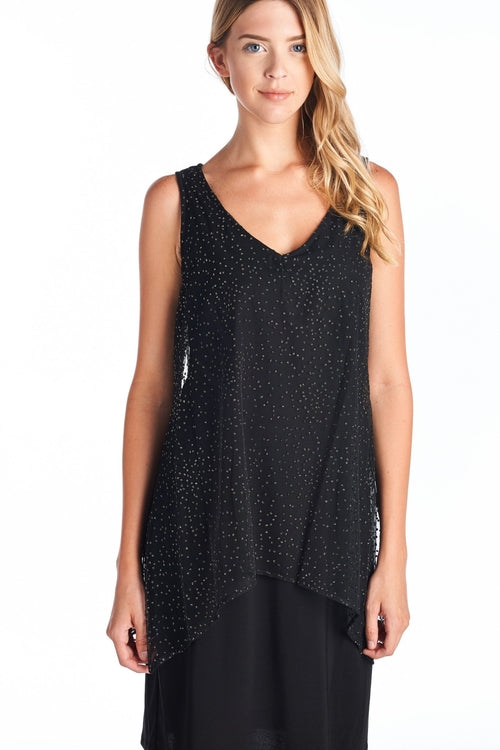 Black/Gold Printed V-Neck Dress - ethereal-arscenic