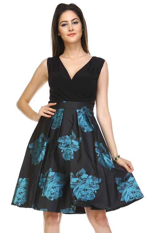 Women's A-Line V-Neck Floral Dress - ethereal-arscenic