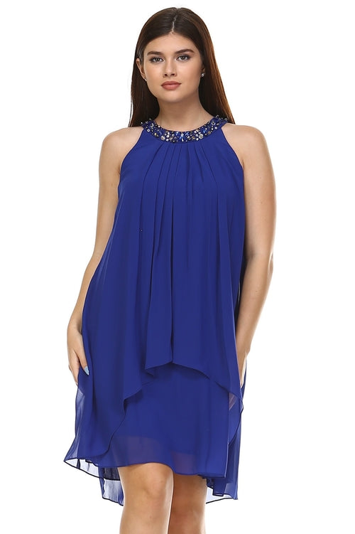 Chiffon Gem Neckline Dress