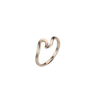 Antique Rose Gold Silver Wave Ring - 6 / Rose Gold