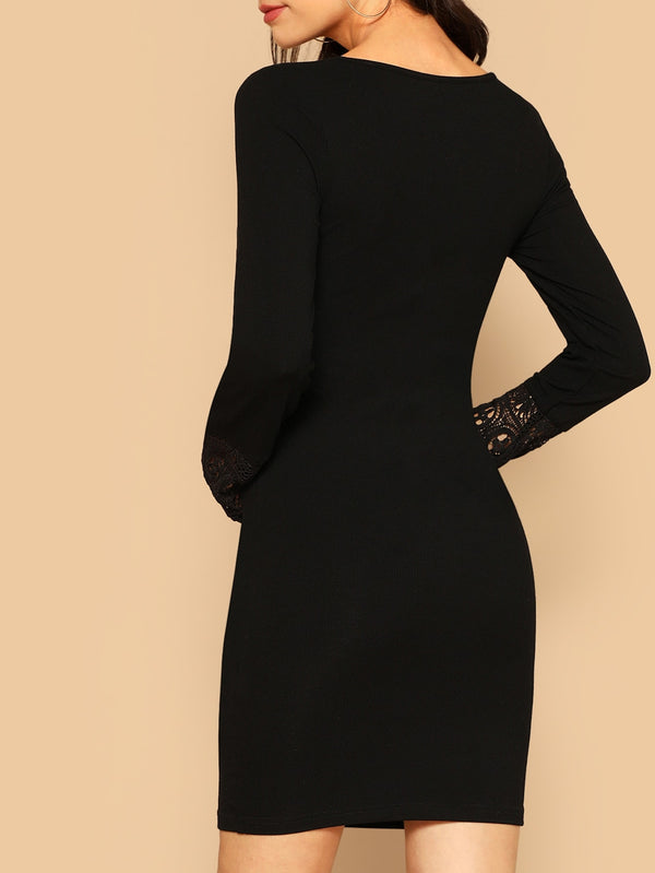Button Front Lace Cuff Pencil Dress