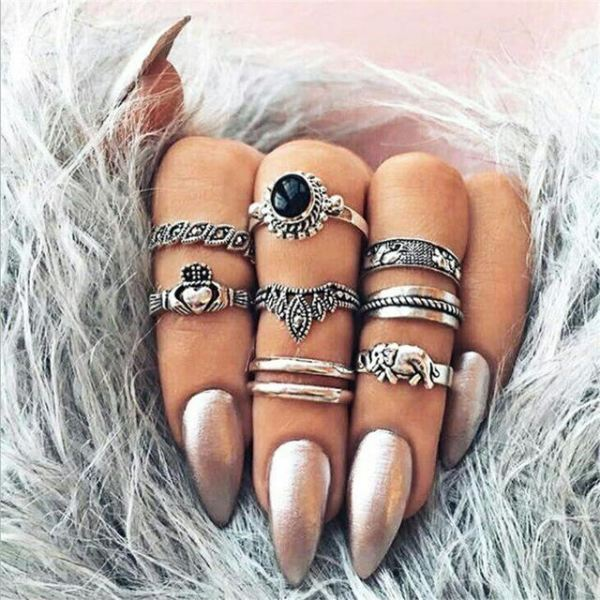 Classical Elegant Knuckle Ring Sets - N6-Set8 1Black Heart