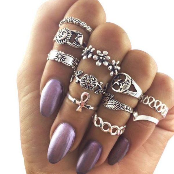 Classical Elegant Knuckle Ring Sets - N9-Set11 Moon Sun