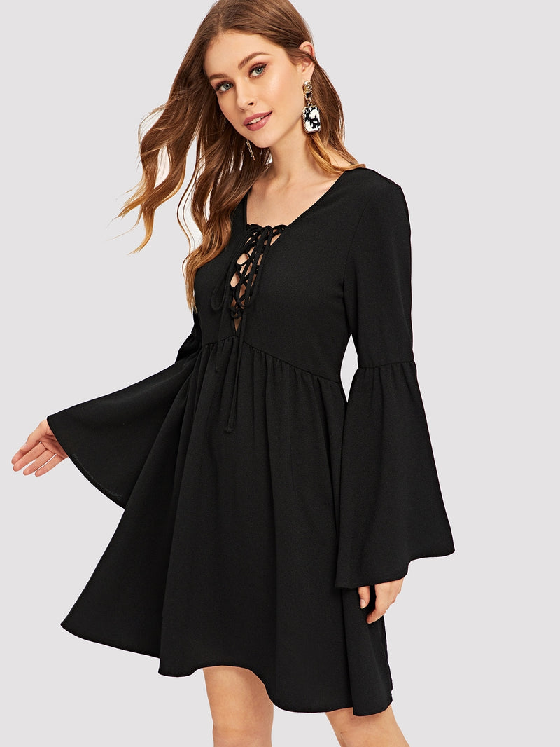 Lace-up Plunging Neck Bell Sleeve Dress - ethereal-arscenic