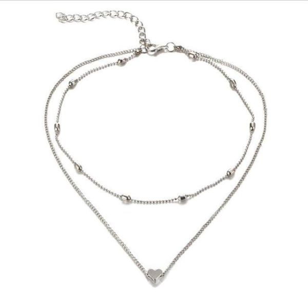 Double Horn Pendant Heart Necklace - ethereal-arscenic