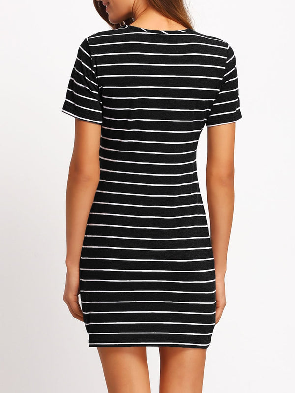 Striped Fitted Tee Dress - ethereal-arscenic