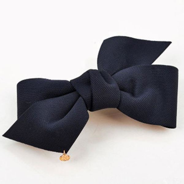 Flower Bow-Knot Hair Clip - Navy Blue / Size Fits All