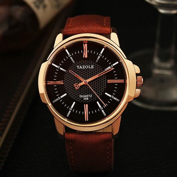 Luxury Rose Gold Quartz Watch - Brown Black