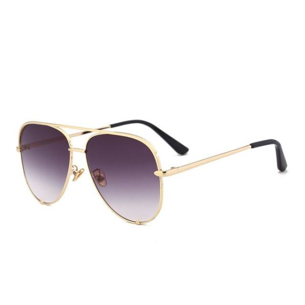 Pink Silver Mirror Sunglasses - C5 Gold Gray
