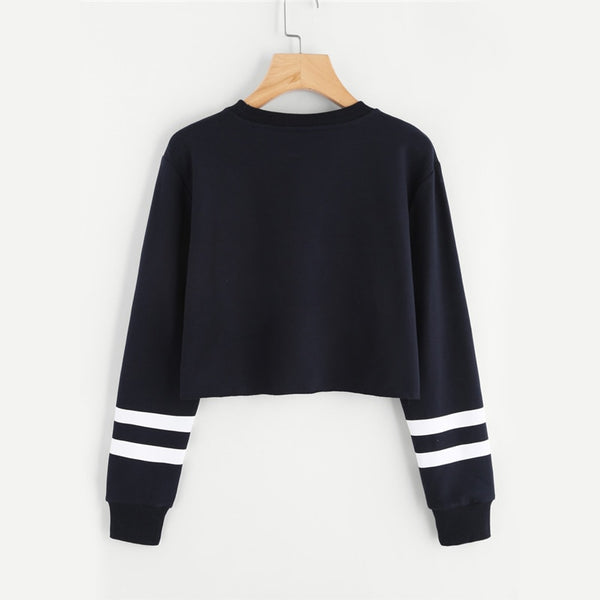 L.A Varsity Striped Black Crop Sweatshirt - ethereal-arscenic