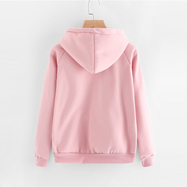 Casual Pink Drawstring Hoodie - ethereal-arscenic