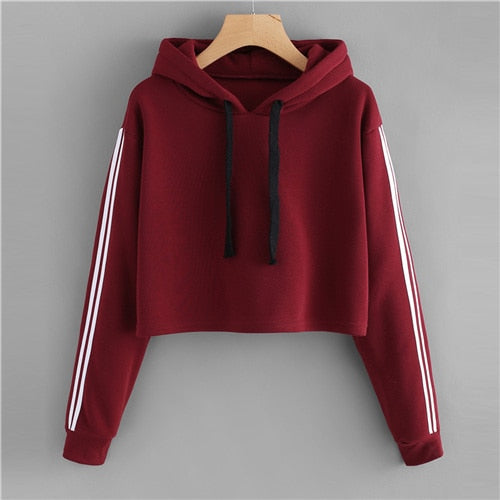 Red Striped Sleeve Crop Hoodies - ethereal-arscenic