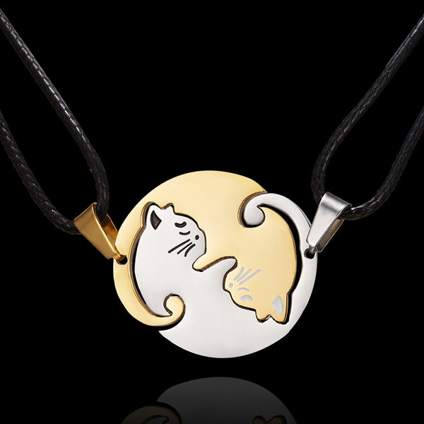 Cat Couple Necklace Set