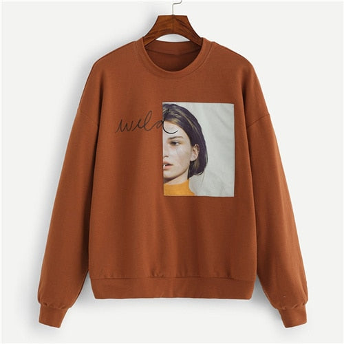 Figure Patched Letter Sweatshirt - ethereal-arscenic