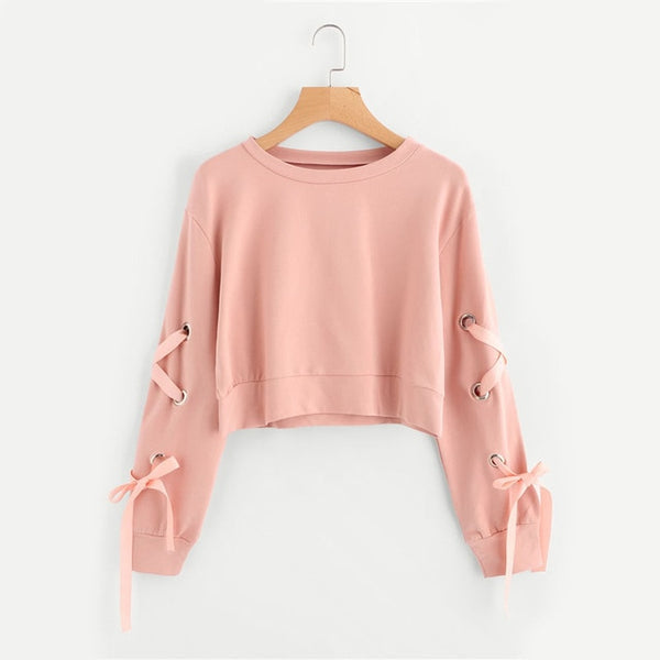 Eyelet Lace Up Sleeve Crop Sweatshirt - ethereal-arscenic