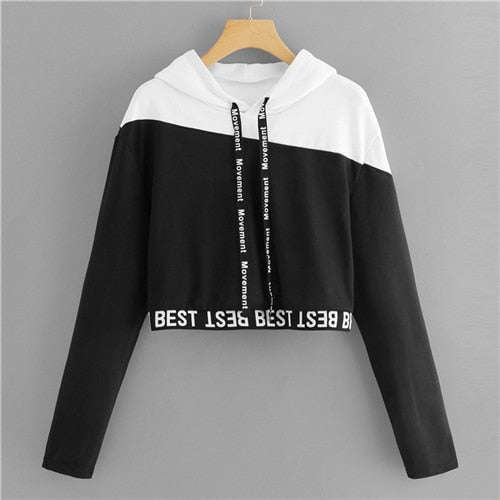 Black & White Letter Tape Block Crop Sweatshirt - ethereal-arscenic