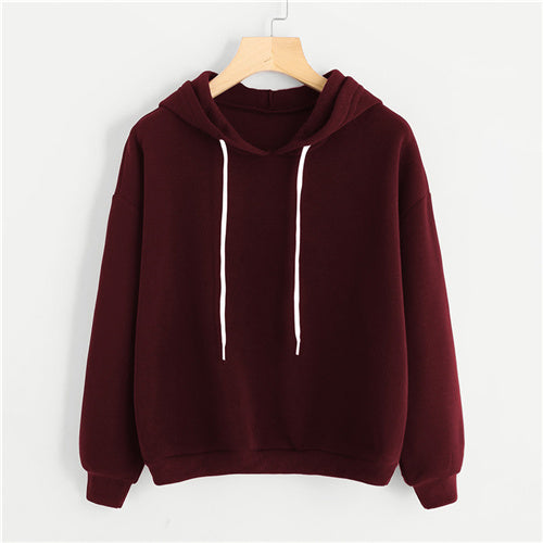 Red Drop Shoulder Basic Hoodie - ethereal-arscenic