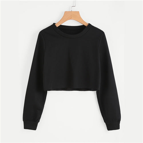 Basic Pullover Crop Sweatshirt - ethereal-arscenic