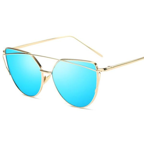 Rose Gold Mirror Sunglasses - 6627 Gold Blue