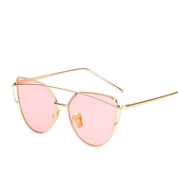 Rose Gold Mirror Sunglasses - 6627 Gold Pink O