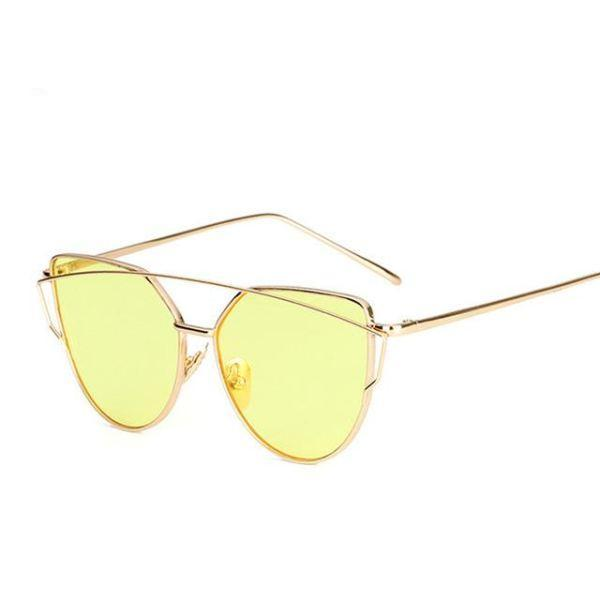 Rose Gold Mirror Sunglasses - 6627 Gold Yellow O