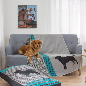 GREY/TURQUOISE DOG BLANKET