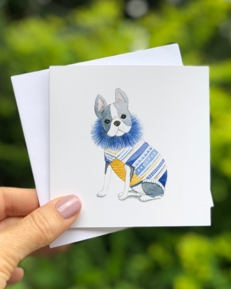 GREETING CARD - FRENCHIE WITH BLUE RUFFLE