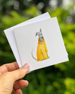 GREETING CARD - GREY DOG IN YELLOW JUMPER