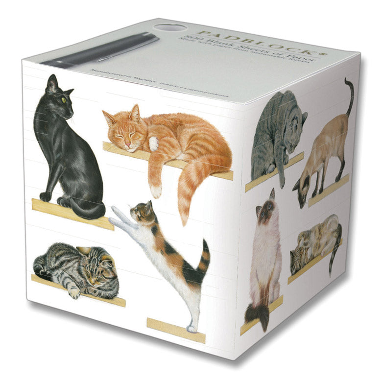 Note Pad Blocks - Cats on Shelves