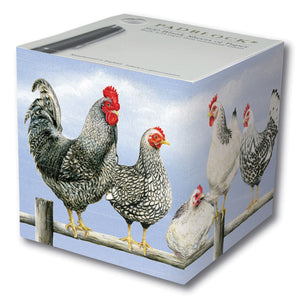 Note Pad Blocks - Black and White Chickens