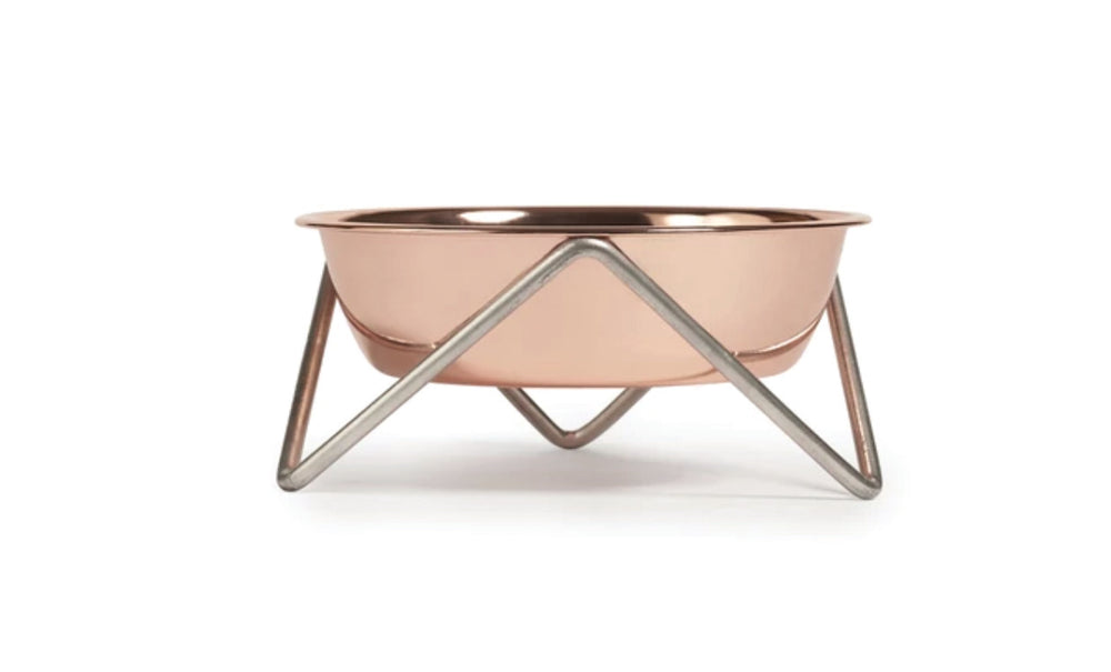 WOOF DOG BOWL - COPPER ON CHROME