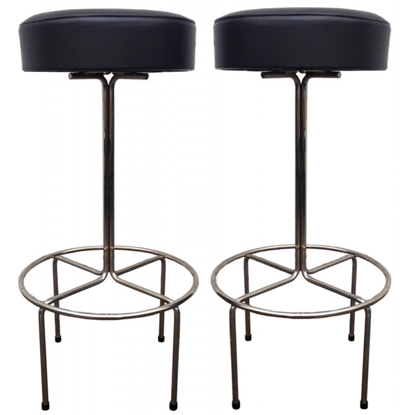 Pair of 2885 Nickel Stool Floor Models